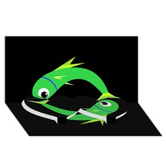 Green fishes Twin Heart Bottom 3D Greeting Card (8x4)