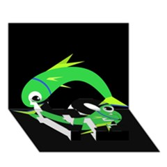 Green fishes LOVE Bottom 3D Greeting Card (7x5)
