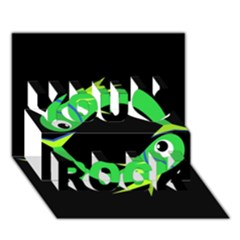 Green fishes You Rock 3D Greeting Card (7x5)