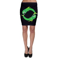 Green fishes Bodycon Skirt