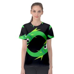 Green fishes Women s Sport Mesh Tee