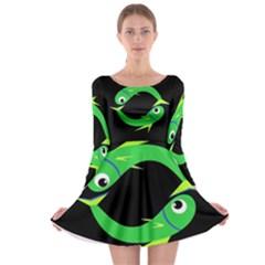 Green fishes Long Sleeve Skater Dress