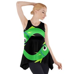 Green fishes Side Drop Tank Tunic
