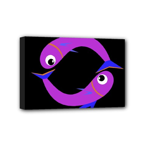 Purple fishes Mini Canvas 6  x 4