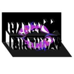 Purple Fishes Happy Birthday 3d Greeting Card (8x4)