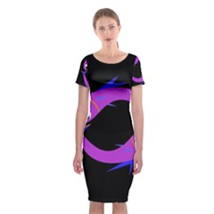 Purple fishes Classic Short Sleeve Midi Dress
