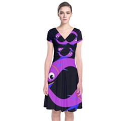 Purple fishes Short Sleeve Front Wrap Dress
