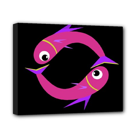 Magenta Fishes Canvas 10  X 8