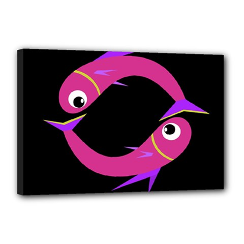 Magenta fishes Canvas 18  x 12