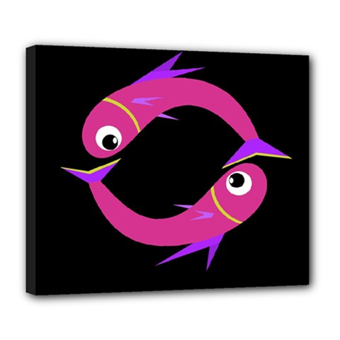 Magenta fishes Deluxe Canvas 24  x 20