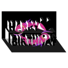 Magenta fishes Happy Birthday 3D Greeting Card (8x4)