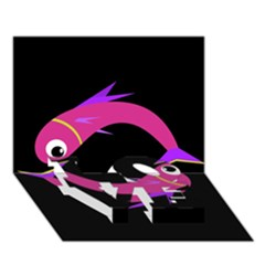 Magenta fishes LOVE Bottom 3D Greeting Card (7x5)