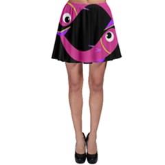 Magenta fishes Skater Skirt