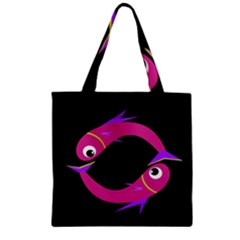 Magenta Fishes Zipper Grocery Tote Bag