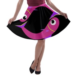 Magenta fishes A-line Skater Skirt