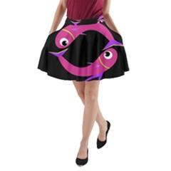 Magenta fishes A-Line Pocket Skirt