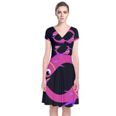 Magenta fishes Short Sleeve Front Wrap Dress