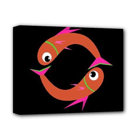 Orange fishes Deluxe Canvas 14  x 11