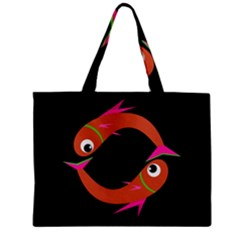 Orange fishes Zipper Mini Tote Bag