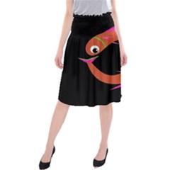 Orange fishes Midi Beach Skirt