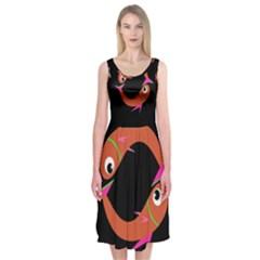 Orange fishes Midi Sleeveless Dress