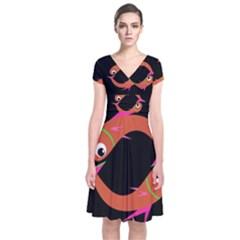 Orange fishes Short Sleeve Front Wrap Dress