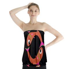 Orange fishes Strapless Top