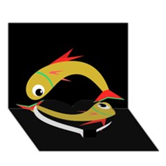 Yellow fishes Heart Bottom 3D Greeting Card (7x5)