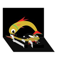 Yellow fishes LOVE Bottom 3D Greeting Card (7x5)