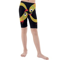 Yellow fishes Kid s Mid Length Swim Shorts