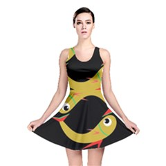 Yellow fishes Reversible Skater Dress