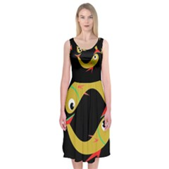 Yellow Fishes Midi Sleeveless Dress
