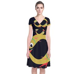 Yellow fishes Short Sleeve Front Wrap Dress