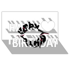 Black fishes Happy Birthday 3D Greeting Card (8x4)