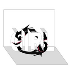 Black fishes GIRL 3D Greeting Card (7x5)