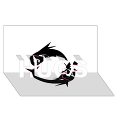 Black fishes HUGS 3D Greeting Card (8x4)