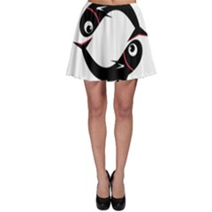 Black fishes Skater Skirt