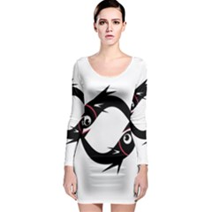 Black fishes Long Sleeve Bodycon Dress