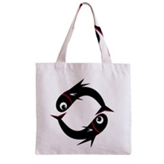 Black fishes Zipper Grocery Tote Bag