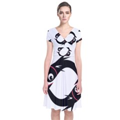 Black Fishes Short Sleeve Front Wrap Dress