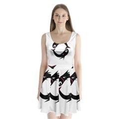 Black fishes Split Back Mini Dress