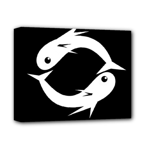 White fishes Deluxe Canvas 14  x 11