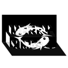 White fishes Merry Xmas 3D Greeting Card (8x4)