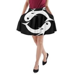 White fishes A-Line Pocket Skirt