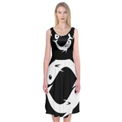 White Fishes Midi Sleeveless Dress