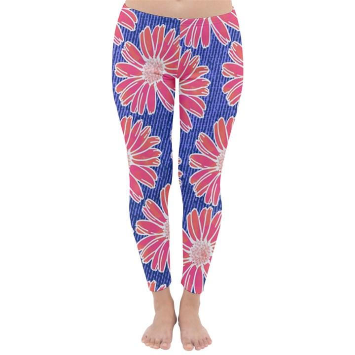 Pink Daisy Pattern Winter Leggings