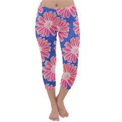 Pink Daisy Pattern Capri Winter Leggings