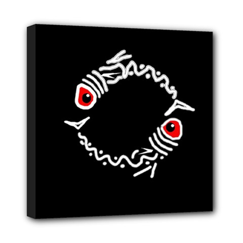 Abstract fishes Mini Canvas 8  x 8