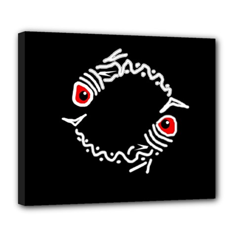 Abstract fishes Deluxe Canvas 24  x 20