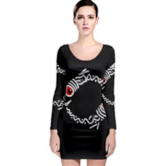 Abstract fishes Long Sleeve Bodycon Dress